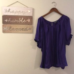 Express Purple Top Blouse Flowy Shirt